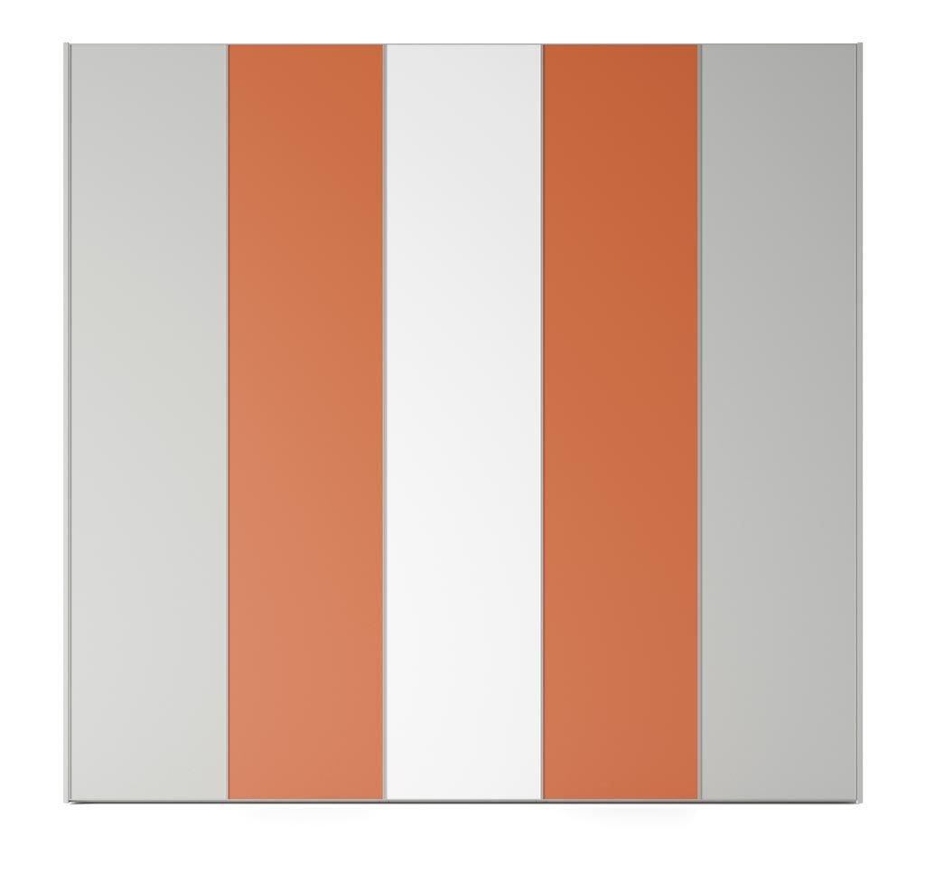 Armario de cinco puertas batientes en color Blanco-Humo-Mandarina