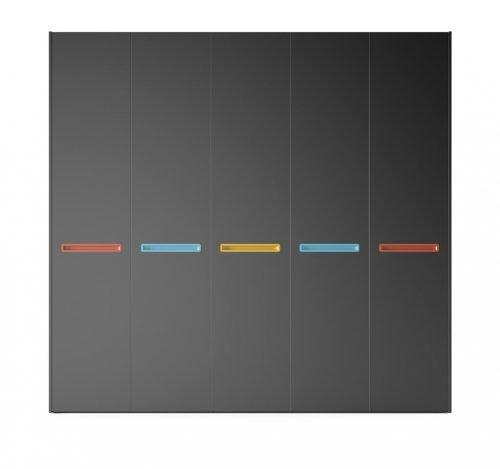 Armario de cinco puertas batientes en color Vulcano
