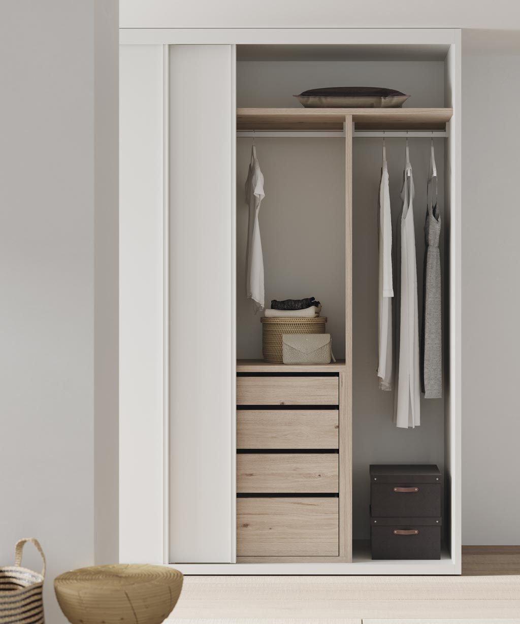 Armario de dos puertas correderas en color Blanco en la habitación