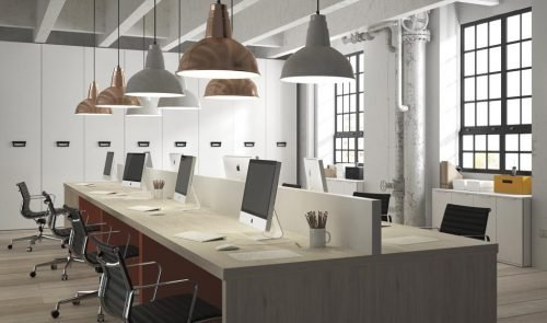 Sistema de mesas y armario de puertas batientes para montar una oficina moderna