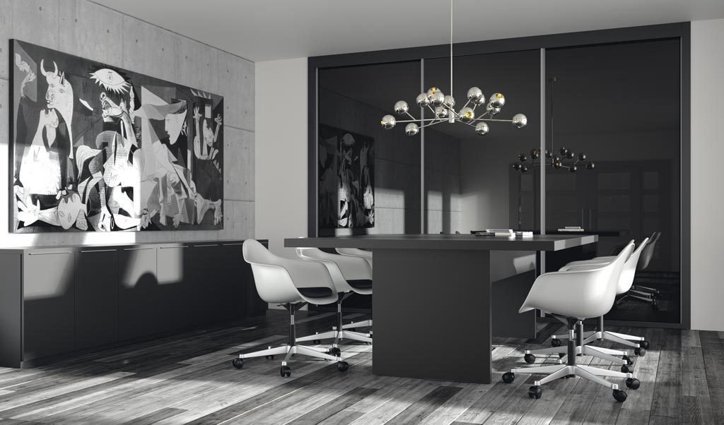 Sala de reuniones elegante con todo el mobiliario en color Vulcano