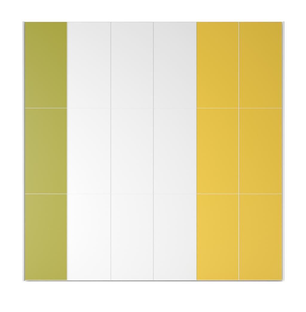 Armario de seis puertas batientes con paneles de colores