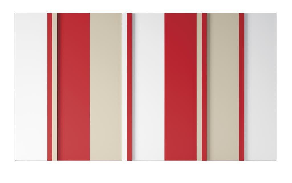 Armario de siete puertas batientes en color Blanco-Arena-Coral