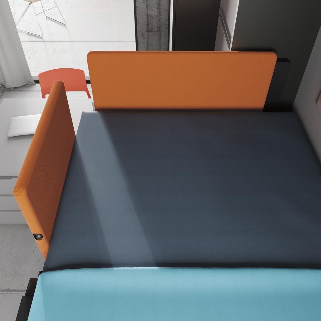 Cabecero y protector tapizado abierto de la cama abatible superior