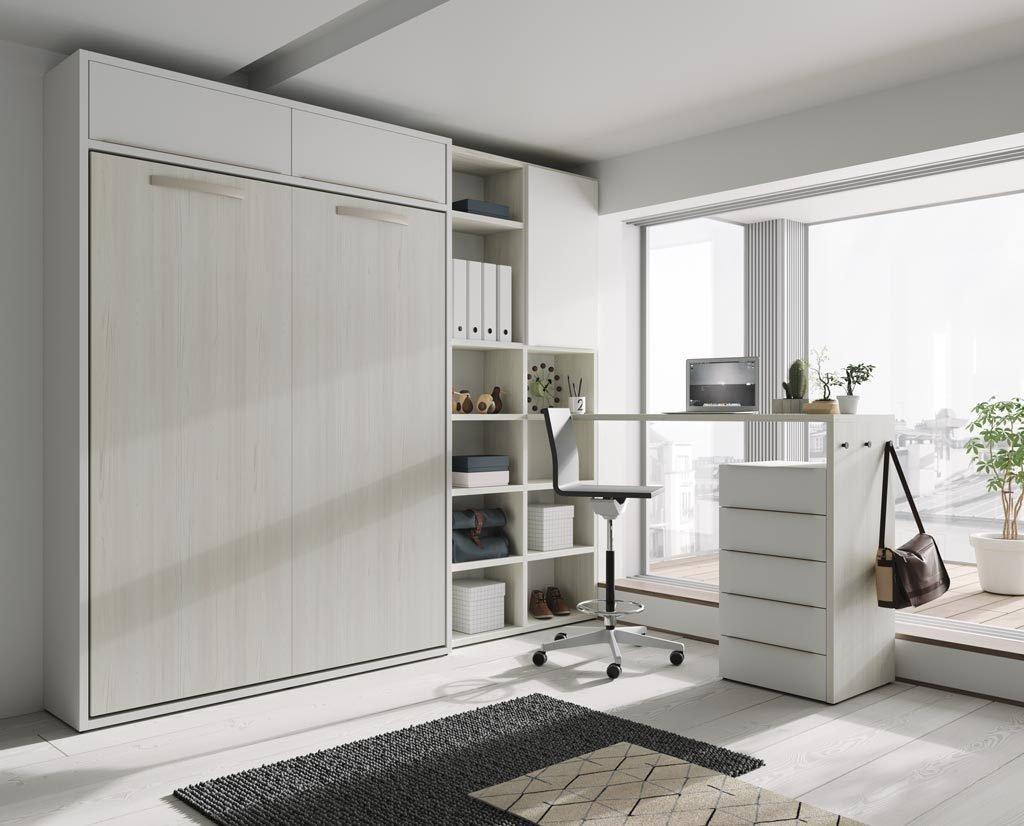 Cama abatible vertical de 150 complementada con estanterías y mesa alta UP