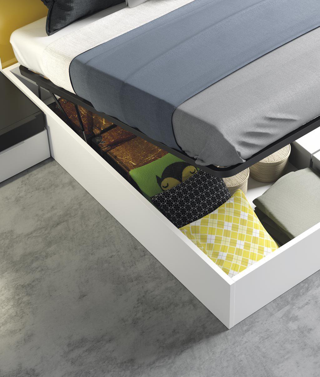 Detalle de la cama canapé elevable en color Blanco