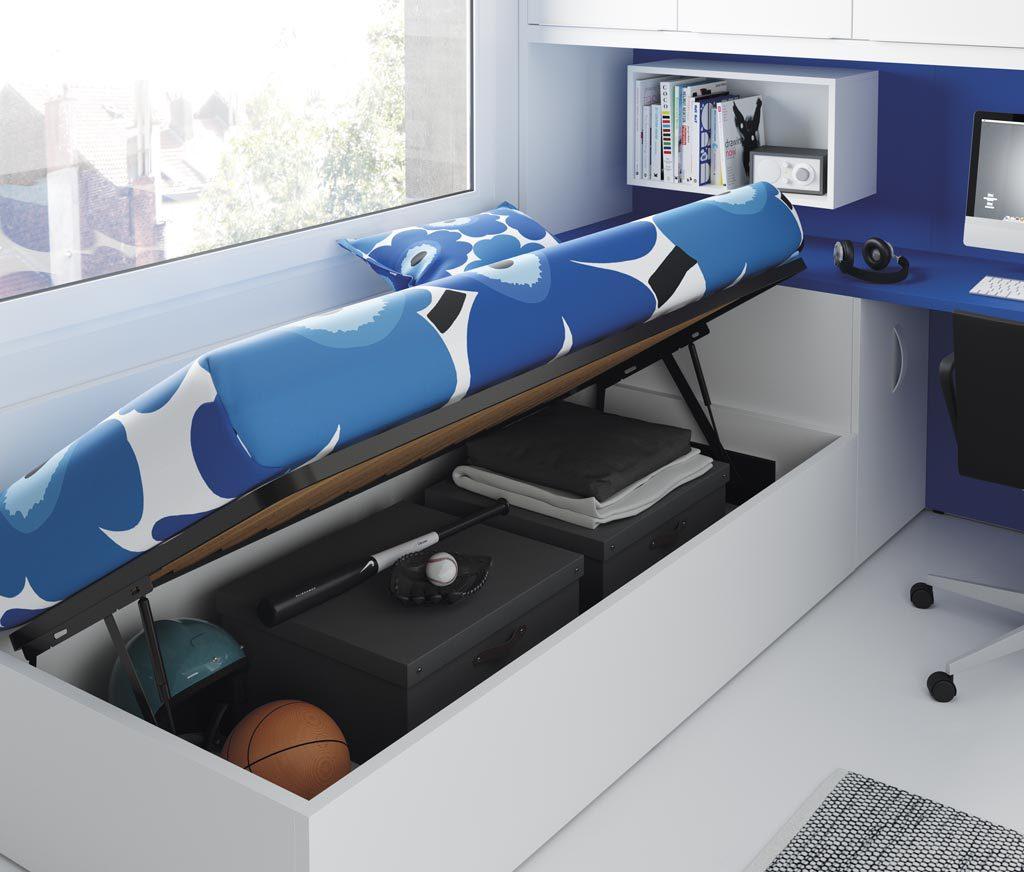 La cama canapé te permite guardar muchas cosas y así puedes mantener la habitación en orden