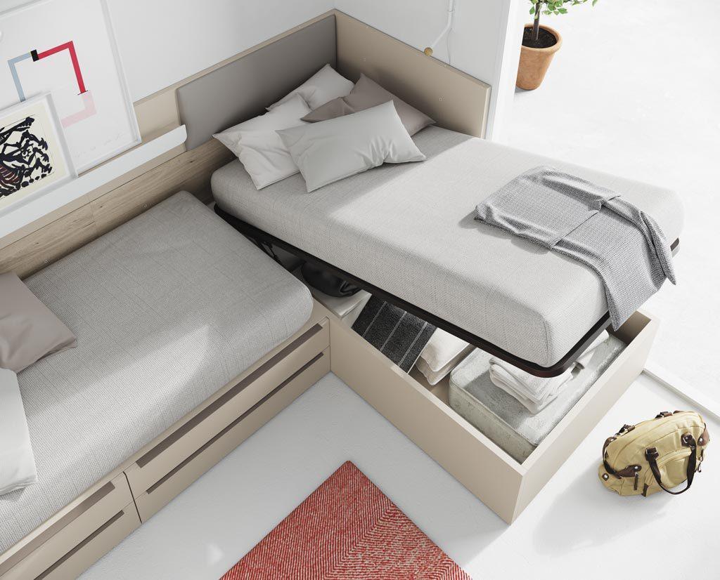 La colección NEST también dispone de camas con canapé elevable