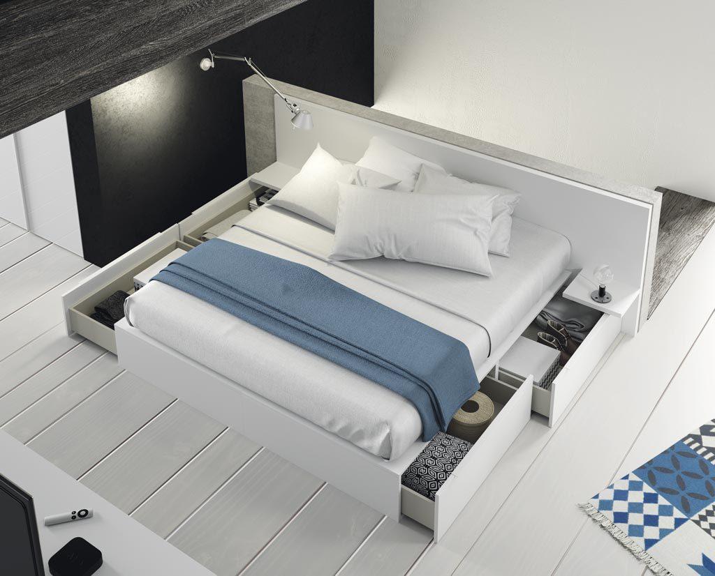 Cama con cajones de gran capacidad para mantener la habitación en orden
