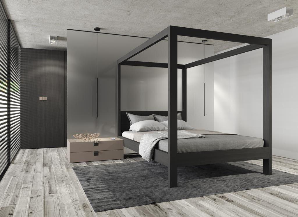La cama con dosel modelo Canopy es el mueble más importante de este dormitorio de adulto