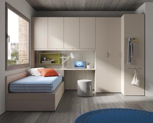 Dormitorio juvenil con armario rincón y altillo