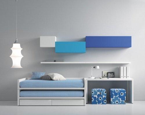 Dormitorio Juvenil moderno que combina el color Blanco con tonos Azules