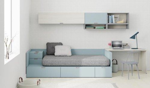 Dormitorio juvenil con cama nido con mesita incorporada de la colección NEST