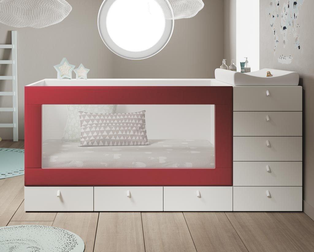 Cuna en color Blanco con el detalle de la barandilla tapizada en color Carmín