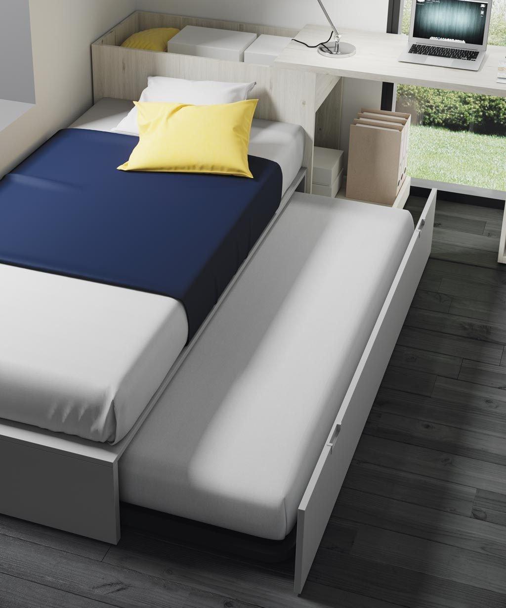 Esta cama nido dispone de una cama de arrastre inferior para cuando necesitas que duerman dos en la habitación
