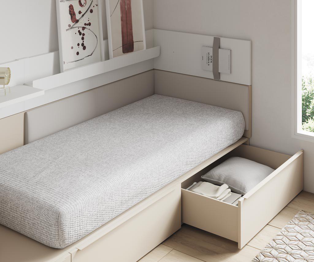 En las camas NEST puedes disponer de cajones de gran capacidad para tener la habitación ordenada