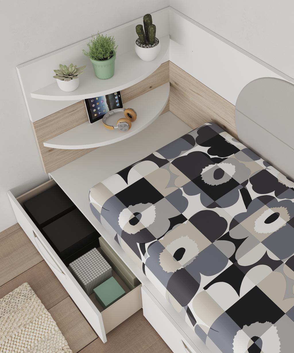 Estantes redondeados para complementar la cama de la colección NEST