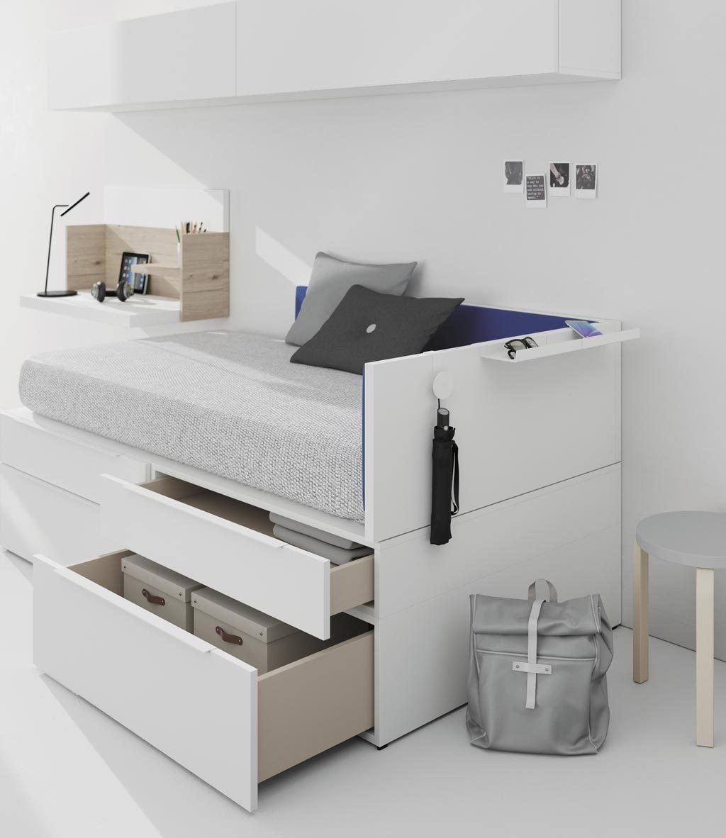 Detalle de los cajones de gran capacidad de la cama nido de la colección NEST