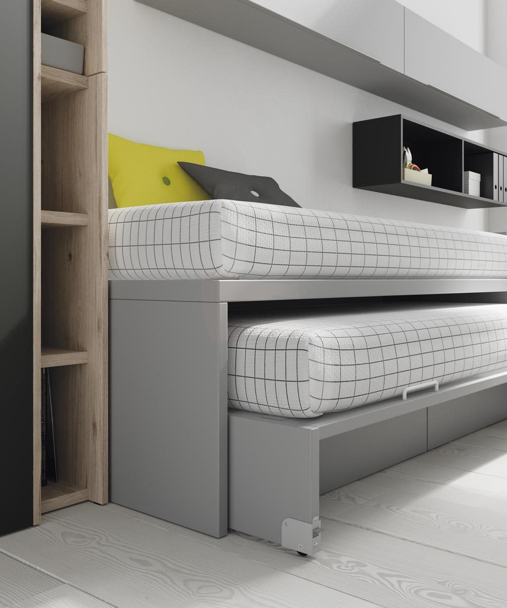 La cama inferior de arrastre te permite disponer de otra cama en la habitación