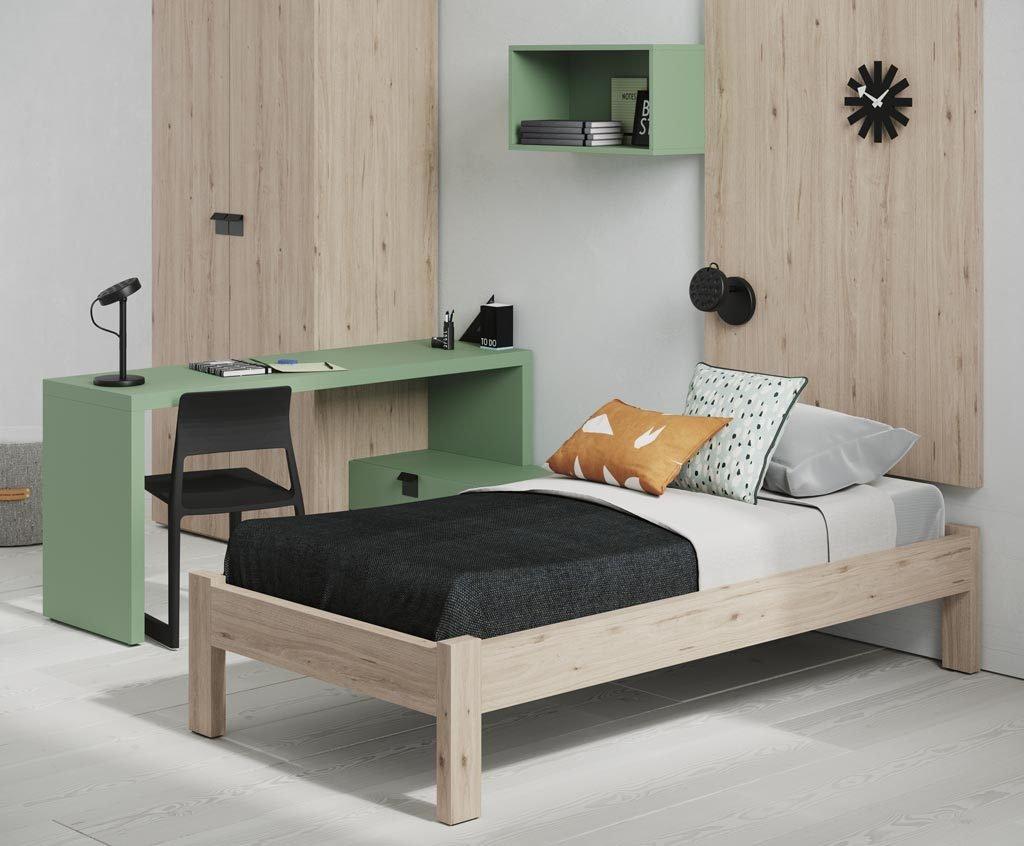 El modelo de cama es el Bold y tiene un acabado en color Nórdico