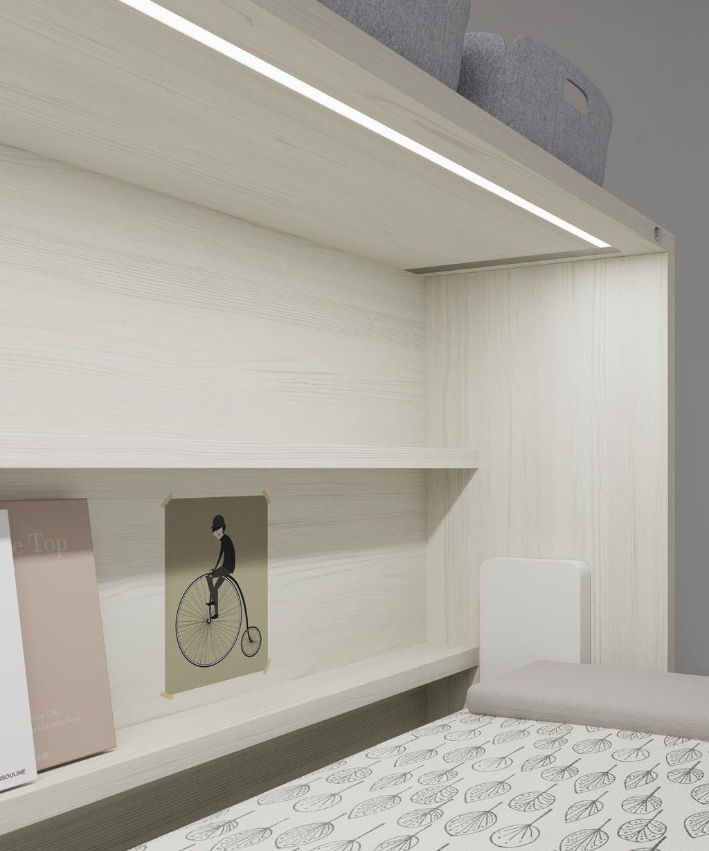 Luz led empotrada en la estructura de la cama abatible horizontal