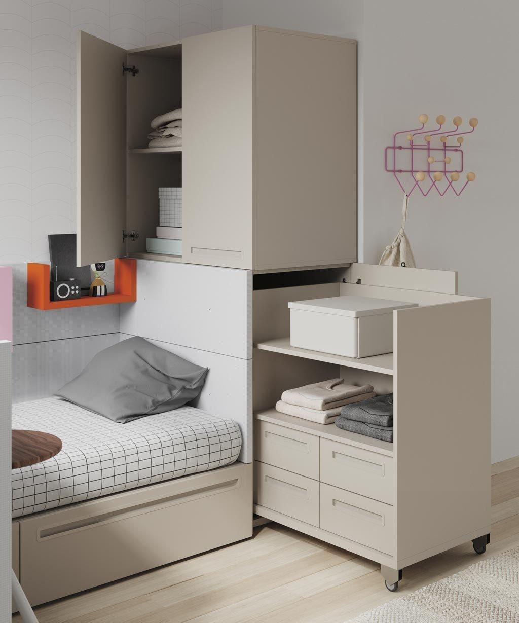 Este mueble extraíble con cajones y estantes es el complemento ideal para tu cama NEST