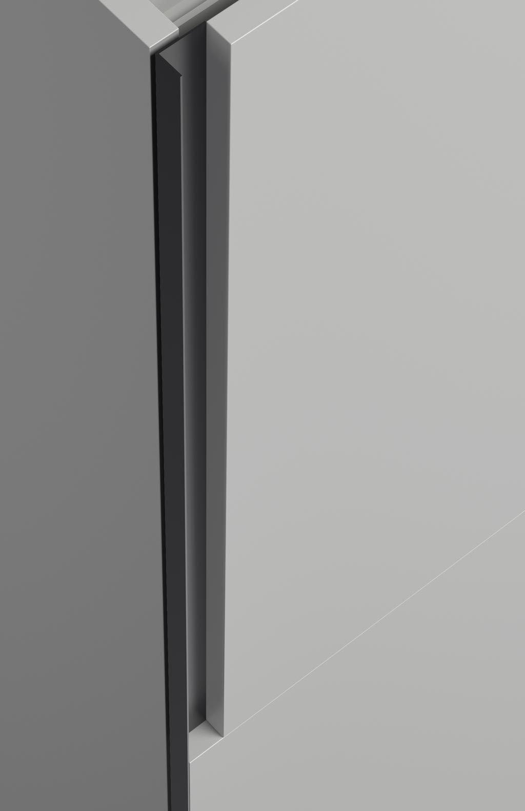 Detalle del tirador integrado en el armario corredero
