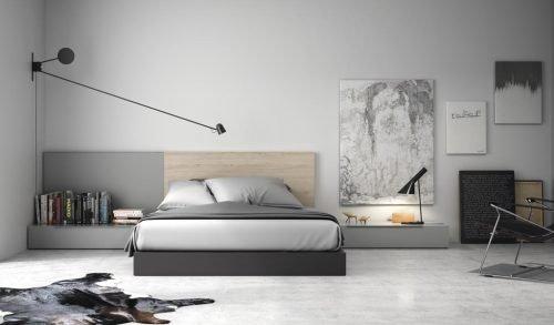 Dormitorio de adulto con el cabecero en color Nórdico