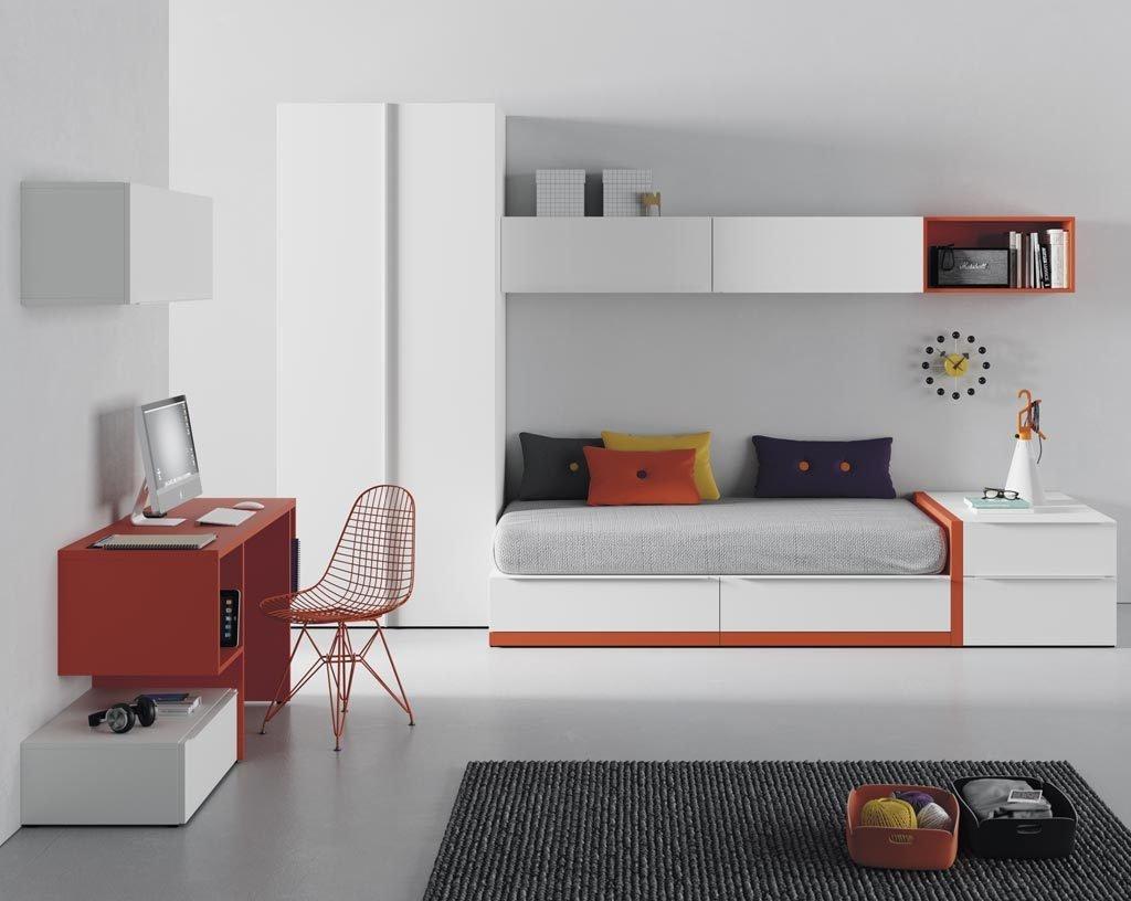Dormitorio juvenil en color blanco con unos toques mandarina