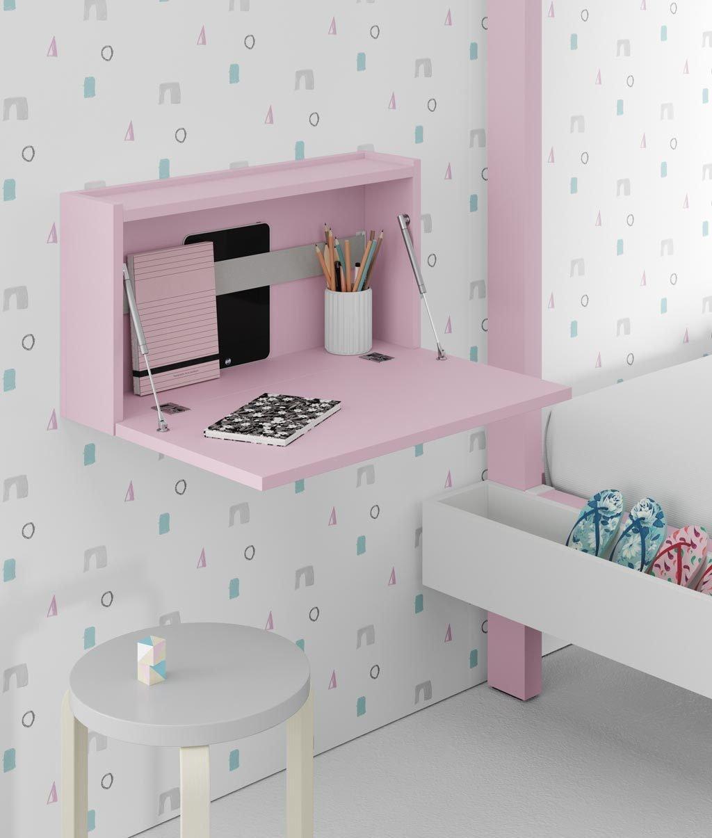Escritorio abatible infantil color rosa de la colección FLAT