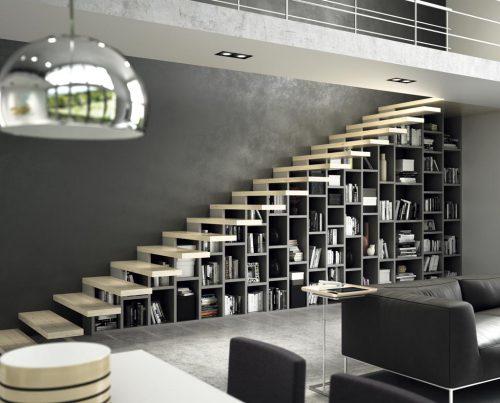 Estantería librería a medida bajo la escalera