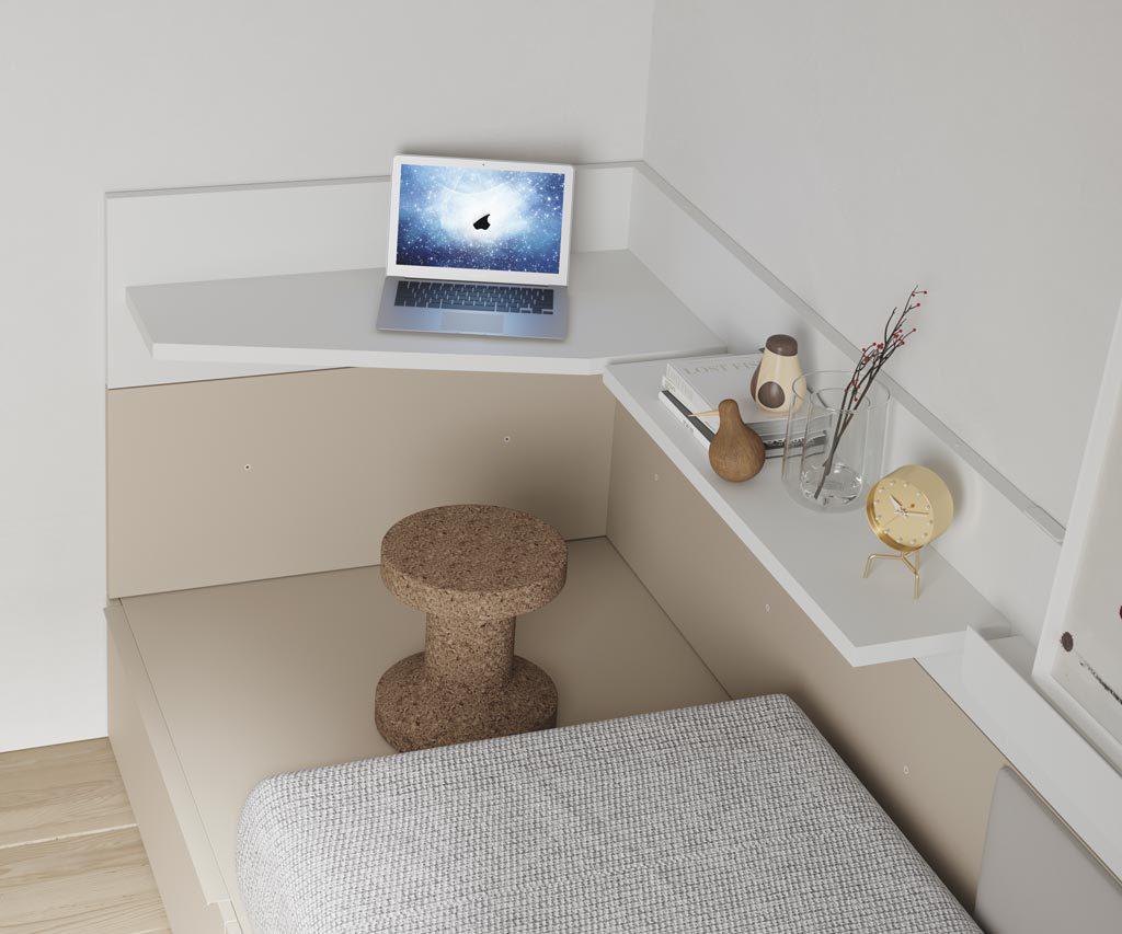 Los diferentes estantes que puedes montar en las camas NEST le dan un plus al mueble