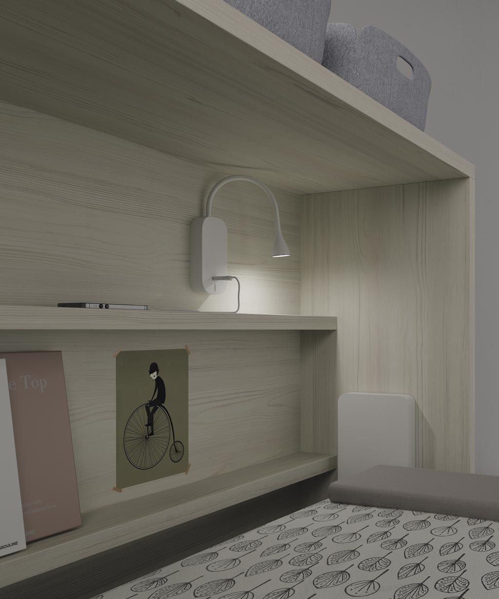 Luz led con flexo y cargador USB para colocar donde quieras en el interior de la cama abatible