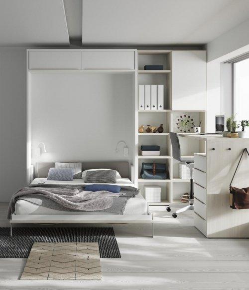 Una habitación diferente con una cama abatible de 150 vertical para aprovechar el espacio al máximo
