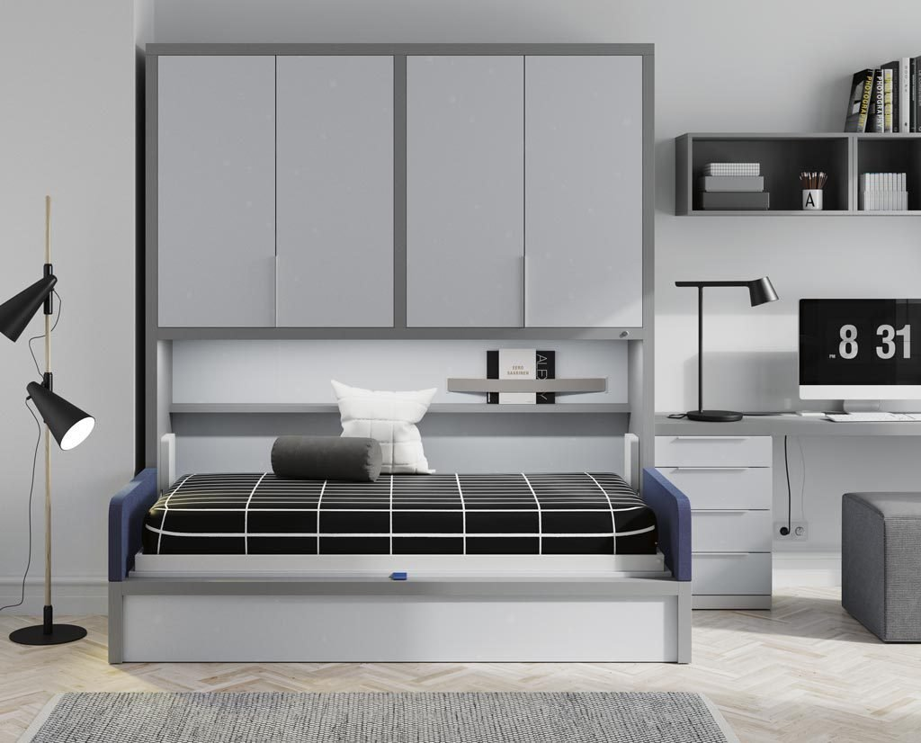 Con la cama abatible abierta convertimos la estancia en una cómoda habitación para descansar