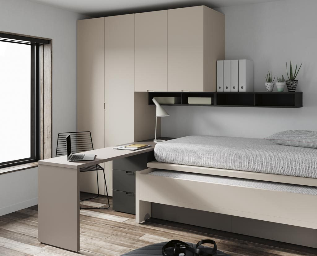 Detalle de la cama inferior de arrastre para poder disponer de dos camas en el dormitorio