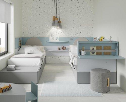 Dormitorio juvenil con dos camas en paralelo de la colección NEST