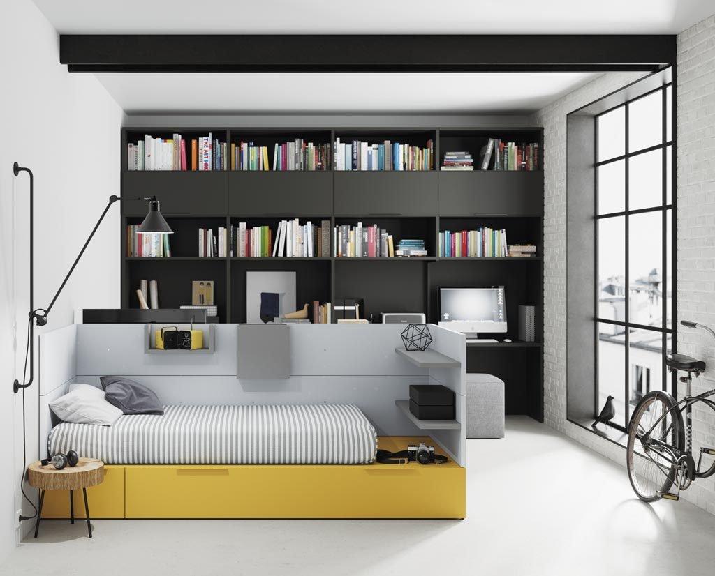 La cama NEST hace de separación entre los dos ambientes de este loft