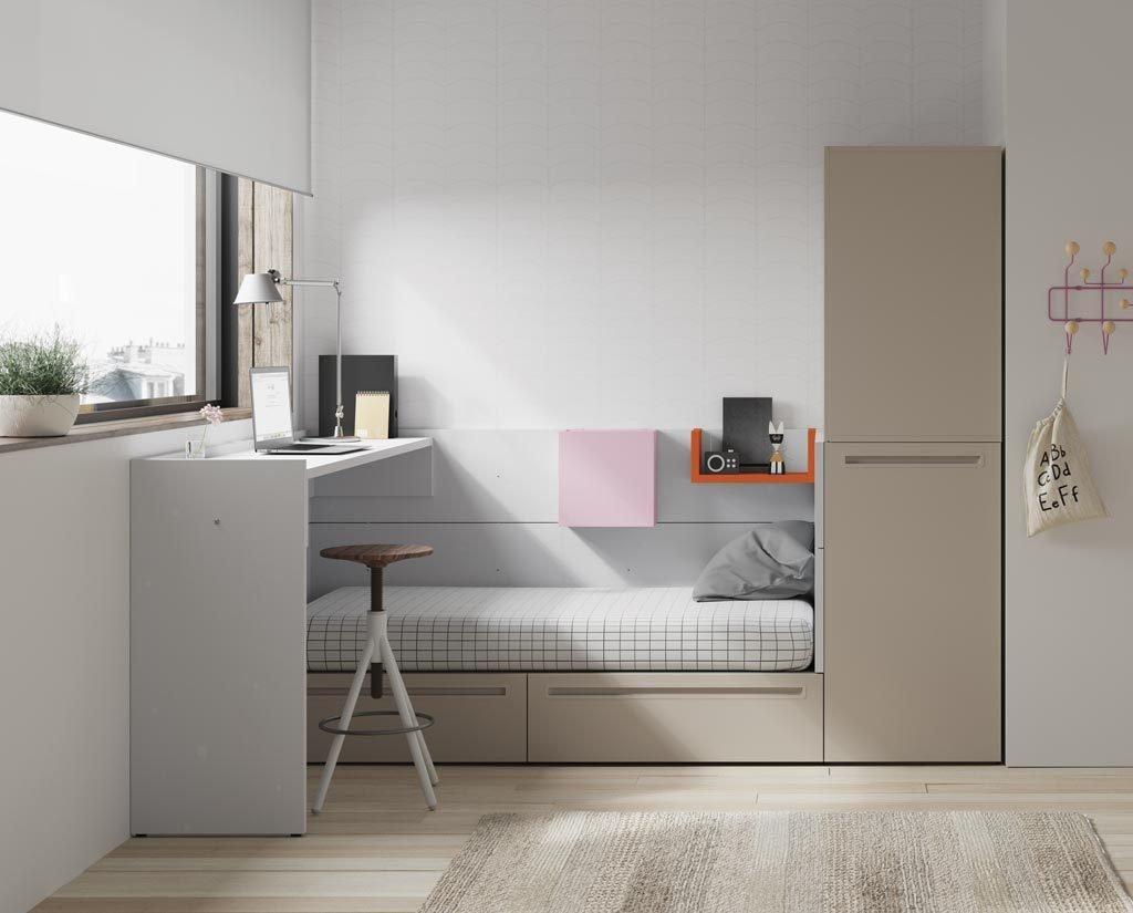 Dormitorio Juvenil de la colección NEST con una mesa de estudio alta