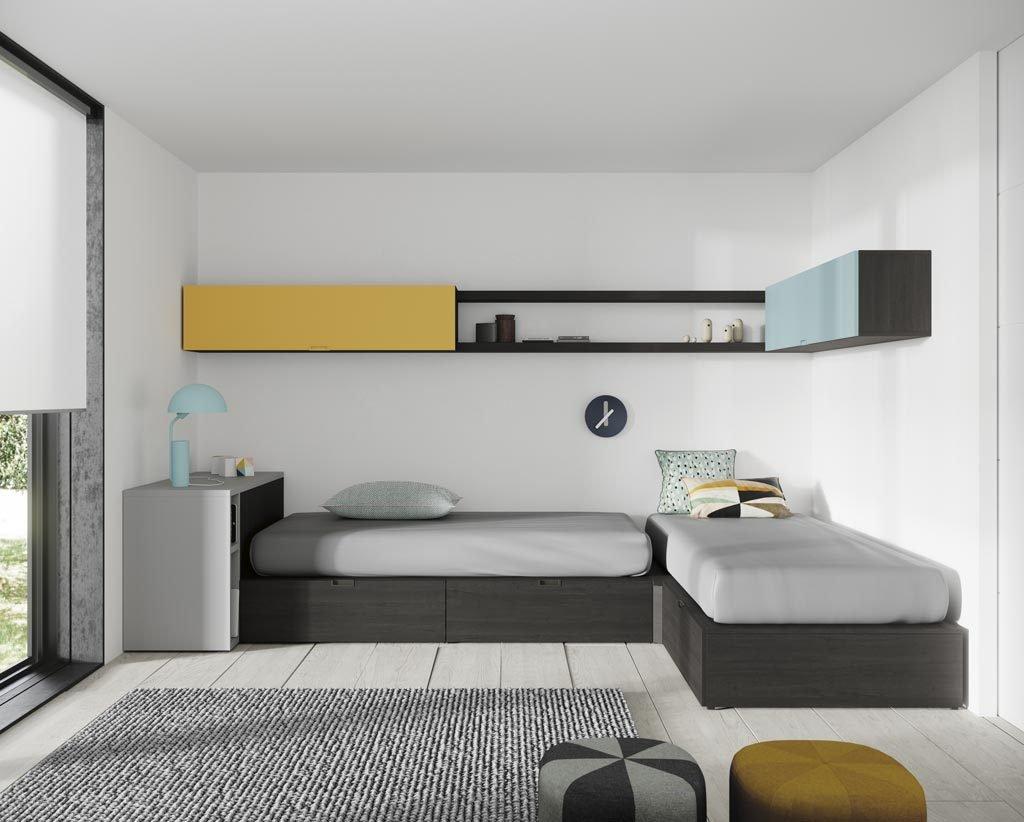 Habitación juvenil con dos camas en forma de L