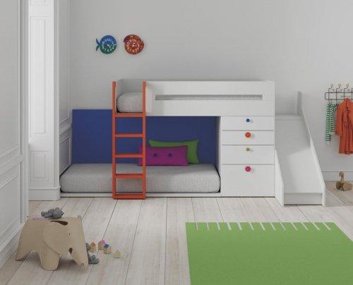 Mueble tren con tobogán infantil en color blanco