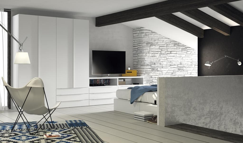 Mueble TV diferente y multifuncional en Blanco para una habitación de adulto