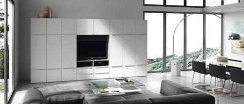 Salón comedor con un mueble para la Televisión integrado con otros módulos