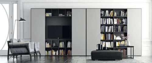 Mueble TV con librería de puertas correderas