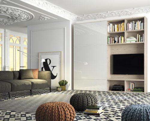 Mueble TV con librería con puertas correderas