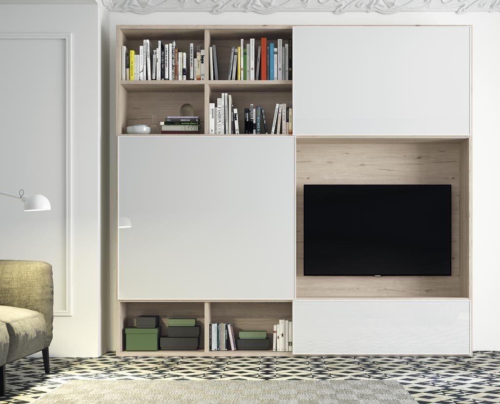 Mueble TV con puertas correderas con la televisión a vistas