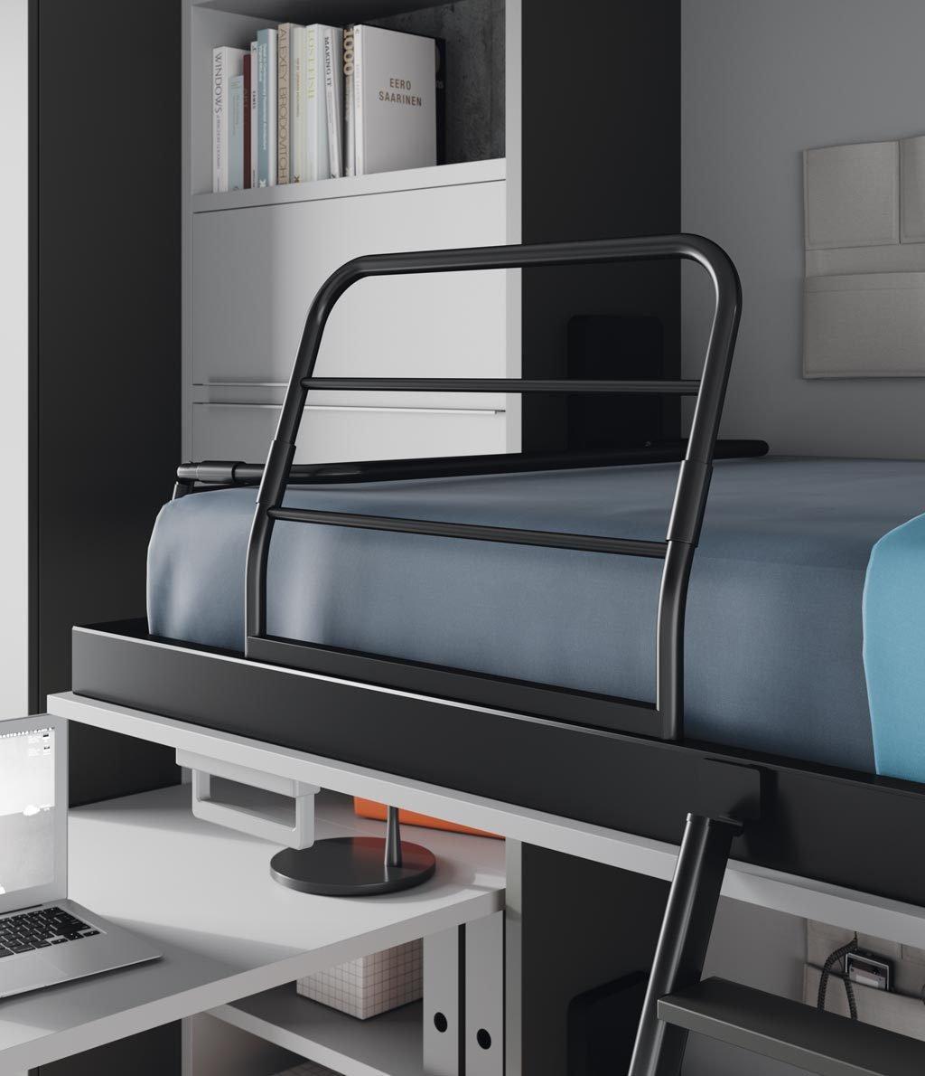 Detalle del protector metálico abierto en la cama abatible superior
