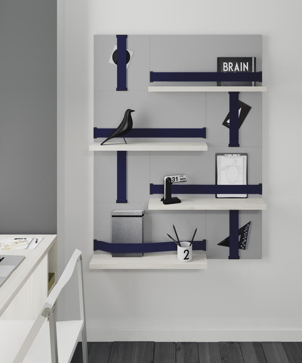 Composición más vertical del sistema FLAT con estantes y cintas elásticas horizontales y verticales