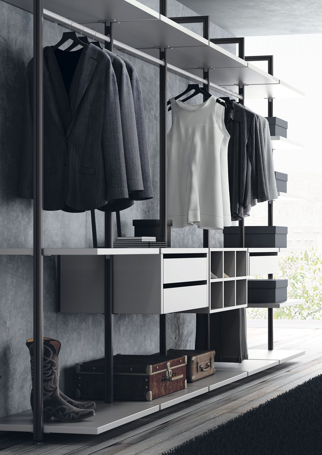 Vestidor con las columnas metálicas negras con los complementos blancos