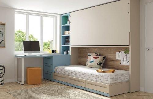 Cama abatible alta con una cama nido inferior